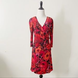Lily Red Poppy 3/4 Length Sleeve Faux Wrap Dress L